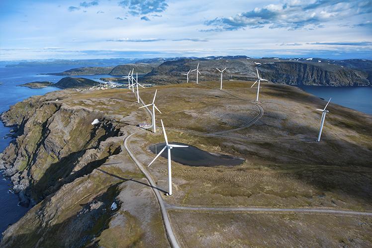 Windmills over artic plains