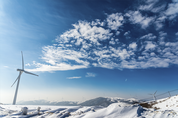 Windmills over artic plains