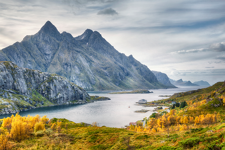 Fjord and mountain in the fall