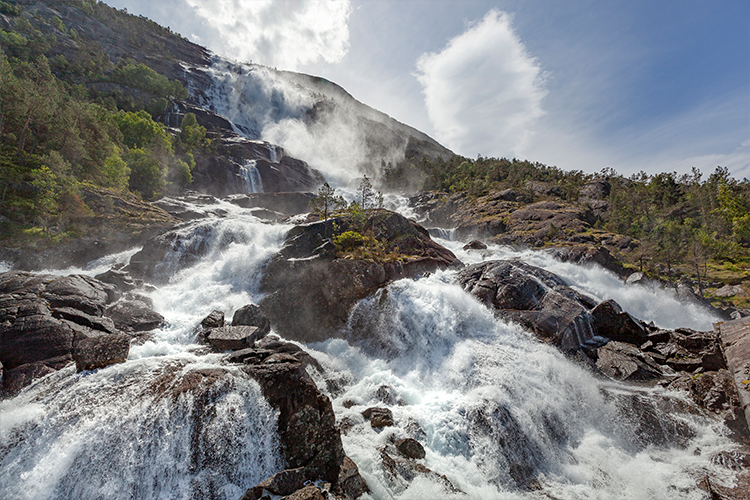 Waterfall in nordic mountain